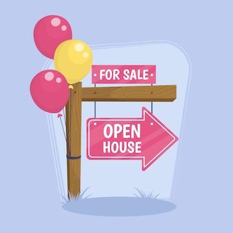 Otwartego domu znak z balonami ilustracyjnymi