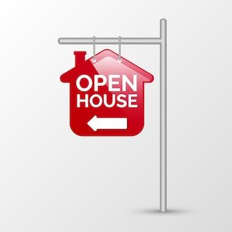 Otwarty dom czerwony znak z kierunkiem