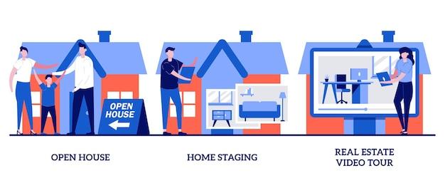 Otwarty dom, home staging, koncepcja wideo wycieczki po nieruchomości z małymi ludźmi. dom na sprzedaż zestaw. plan piętra, przejście, prywatna rezydencja, potencjalny nabywca, metafora mebli.