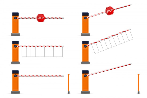 Otwarty i zamknięty samochód parkingowy z barierką