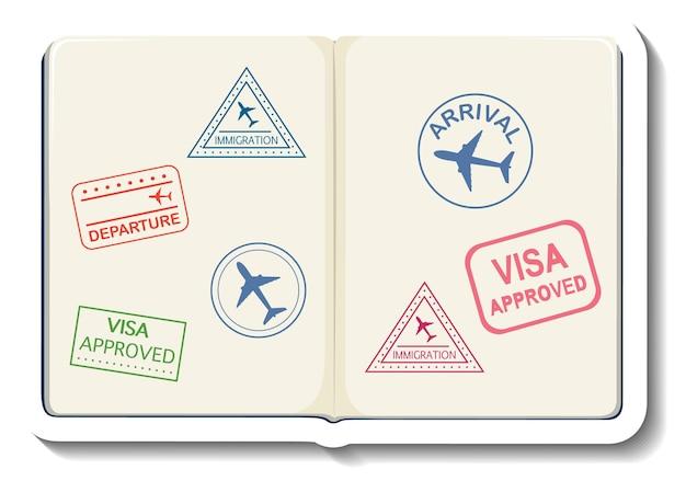 Otwarty paszport z naklejką z rysunkową pieczęcią wizową