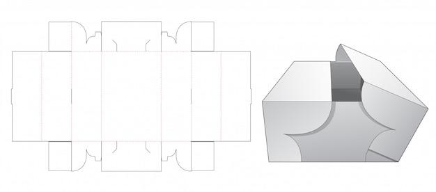 Otwarty szablon wycinany w środku długiego pudełka
