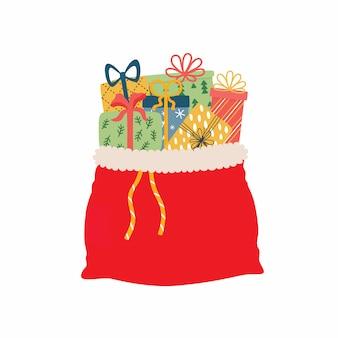 Otwiera czerwoną torbę pełno bożenarodzeniowe teraźniejszość ilustracyjne