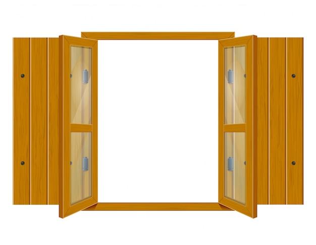 Otwiera drewnianego okno z żaluzjami i przejrzystym szkłem dla projekta wektoru illustrationo