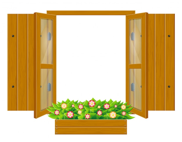 Otwiera drewnianego okno z żaluzjami i przejrzystym szkłem dla projekta wektoru ilustraci