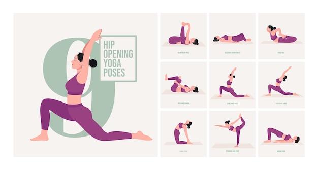 Otwieranie bioder pozycje jogi młoda kobieta ćwicząca pozy jogi