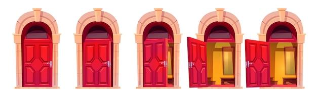 Otwieranie czerwonych drzwi z kamiennym łukiem na białym tle. kreskówka zestaw wejścia do domu, wnętrze holu za zamkniętymi, uchylonymi i otwartymi drzwiami w elewacji budynku