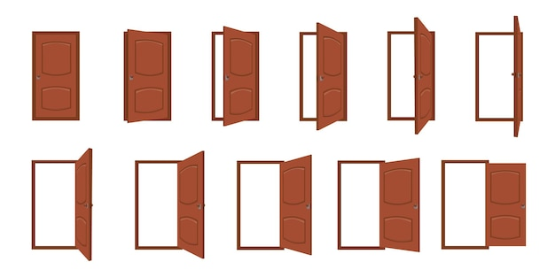 Otwieranie drzwi. kreskówka otwarte i zamknięte drzwi do salonu. wejście do domu z ramą, drzwi drewniane do domu lub wyjście. ramki wektorowe animacji drzwi. architektura drzwi do salonu lub ilustracji biurowej
