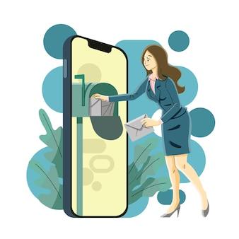 Otwieranie skrzynki odbiorczej nowej wiadomości e-mail w smartfonie