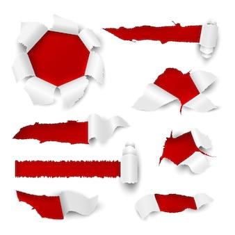 Otwór na papier. realistyczna rozdarta krawędź z białym arkuszem naklejki sprzedaż tag promocyjna strona z otworami kartonowymi. elementy zwoju zgranych z jeziora