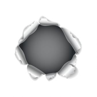 Otwór na papier. realistyczne wektor rozdarty papier z poszarpanymi krawędziami. rozdarta dziura w kartce papieru