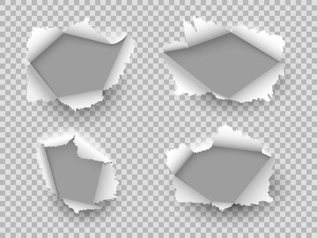 Otwór na papier. rozerwane otwory na krawędziach, pęknięcie kartonu. uszkodzony arkusz z zawiniętymi kawałkami, otwarta szczelina papieru. realistyczny wektor zestaw