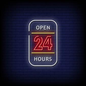Otwórz 24-godzinny tekst w stylu neonów