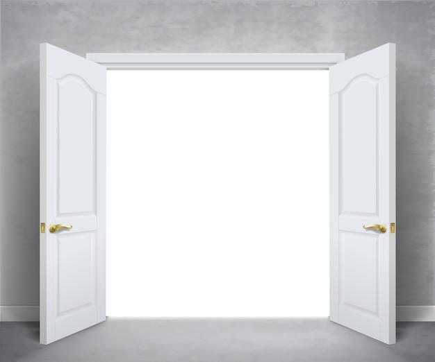 Otwórz białe podwójne drzwi. biała ściana