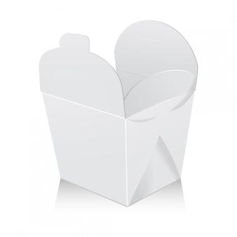 Otwórz białe puste pudełko na woka. karton zabiera papierową torbę na żywność.