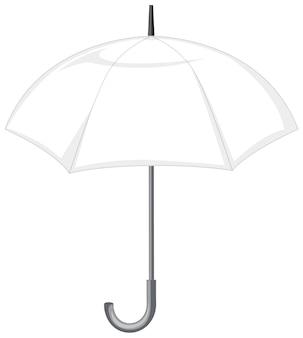 Otwórz biały parasol na białym tle