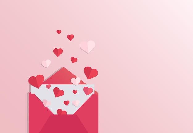 Otwórz czerwoną kopertę z papierowymi sercami