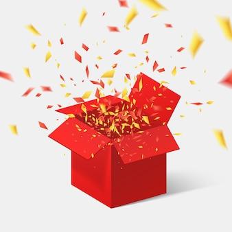 Otwórz czerwone pudełko i konfetti. ilustracja.