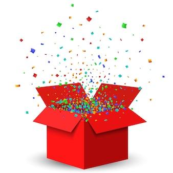 Otwórz czerwone pudełko i konfetti.