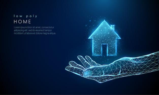 Otwórz, dając rękę z ikoną domu wiejskiego.