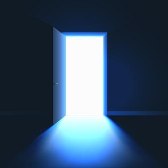 Otwórz drzwi w ciemnym pokoju. światło w pomieszczeniu przez otwarte drzwi.