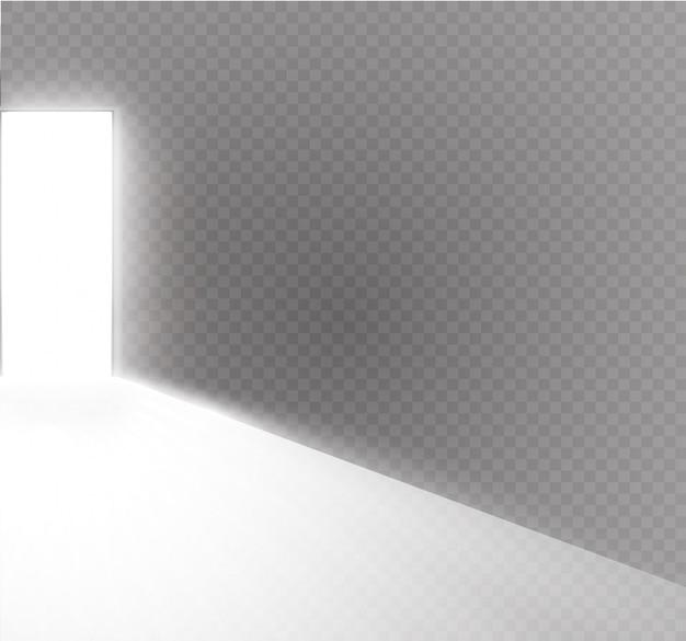 Otwórz drzwi w ciemnym pokoju ze światłem przechodzącym przez nie. światło przechodzi przez szczelinę na przezroczystym tle