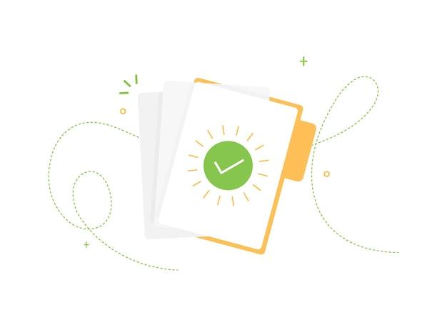 Otwórz folder z potwierdzonymi dokumentami papierowymi w płaskiej konstrukcji na białym tle