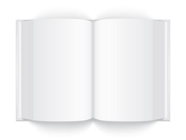 Otwórz grubą białą książkę z twardą okładką na białym tle makiety wektor