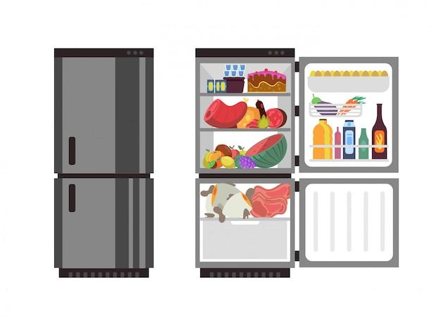 Otwórz i zamknij lodówkę. lodówka kuchenna z jedzeniem