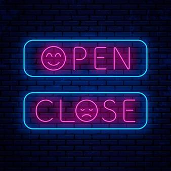 Otwórz i zamknij neonową tablicę