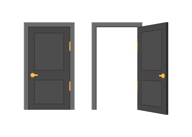 Otwórz koniec zamknięte drzwi. projektowanie wnętrz. pomysł na biznes. przedni widok. koncepcja biura domowego. sukces biznesowy.