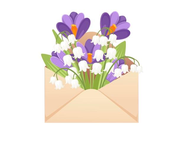 Otwórz kopertę papierową eko przyjazny z wiosennych kwiatów kreatywnych płaskie wektor ilustracja na białym tle.