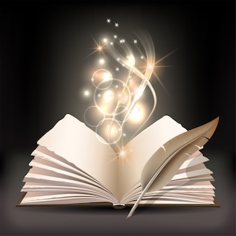 Otwórz książkę z mistycznym jasnym światłem i gęsim piórem na ciemnym tle. magiczna ilustracja plakatu