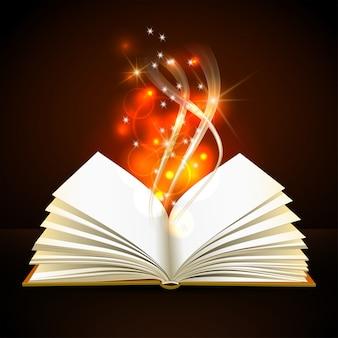 Otwórz książkę z mistycznym jasnym światłem na ciemnym tle. magiczny plakat