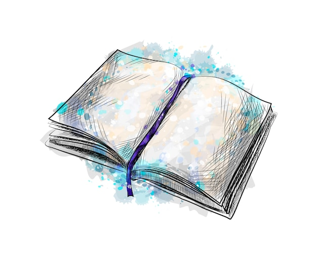 Otwórz książkę z odrobiną akwareli, ręcznie rysowane szkic. ilustracja wektorowa farb