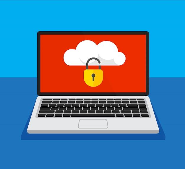 Otwórz laptop z zablokowaną pamięcią w chmurze na ekranie. ochrona plików. koncepcja bezpieczeństwa danych i prywatności na wyświetlaczu komputera. bezpieczne informacje poufne. ilustracja.