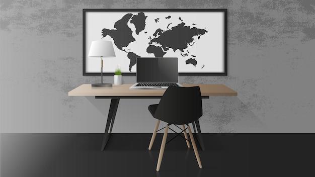 Otwórz laptopa z czarnym ekranem. nowoczesny laptop na drewnianym stole. stół, stół, zielone rośliny, lampa stołowa, miejsce pracy w stylu loft. realistyczna ilustracja.