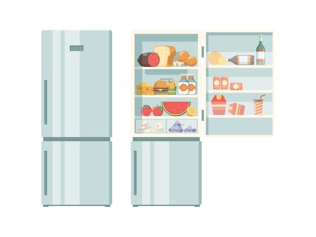 Otwórz lodówkę. zdrowe jedzenie w wygodnych warzywach w lodówce mięso juce ciasta stek zdjęcia produktów w supermarketach