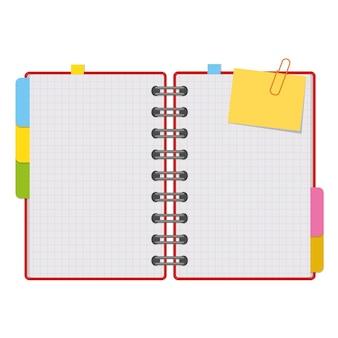 Otwórz notatnik z czystymi kartkami na spirali z zakładkami