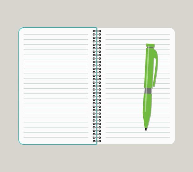 Otwórz notatnik z zielonym długopisem. ilustracja wektorowa