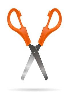 Otwórz nożyczki biurowe z plastikowymi pomarańczowymi uchwytami na białym tle na białym tle. realistyczna ilustracja wektorowa