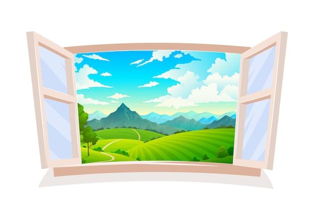 Otwórz okno. widok z drewnianego okna na krajobraz, scena słoneczny dzień, pole wzgórza i góry, ziemia i zachmurzone błękitne niebo, dzika przyroda trawa i tło wsi leśnej z ilustracji wektorowych drzewa