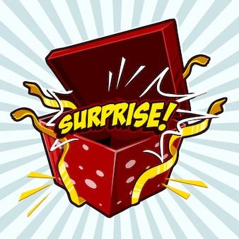 """Otwórz pudełko lub prezent ze słowem """"niespodzianka"""""""