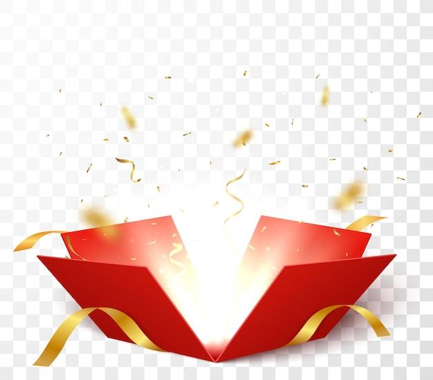 Otwórz pudełko z złotym i czerwonym konfetti na białym tle