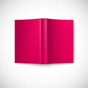 Otwórz pustą czerwoną książkę, widok z góry na dół.