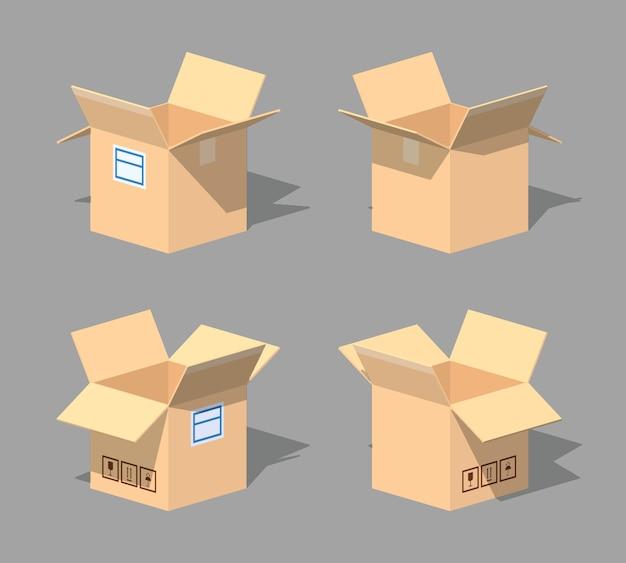 Otwórz puste pudełko kartonowe. ilustracja wektorowa izometryczny 3d lowpoly.