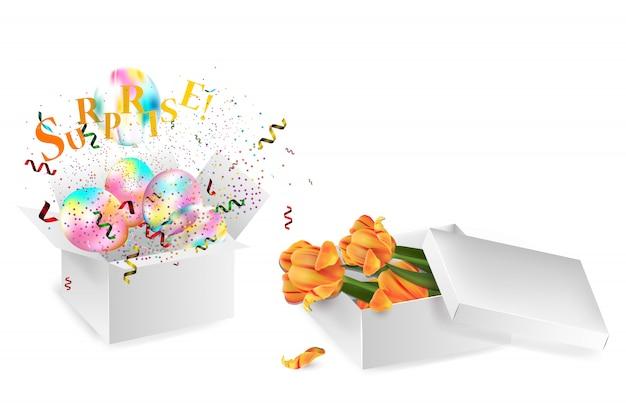 Otwórz realistyczne pudełko z czerwoną kokardą, balonami i wielobarwnymi konfetti, na białym tle z cieniem. ilustracja.