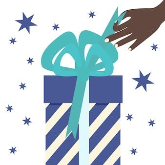 Otwórz ręcznie pudełko z prezentami. koncepcja uroczystości. ilustracja na białym tle wektor płaski.