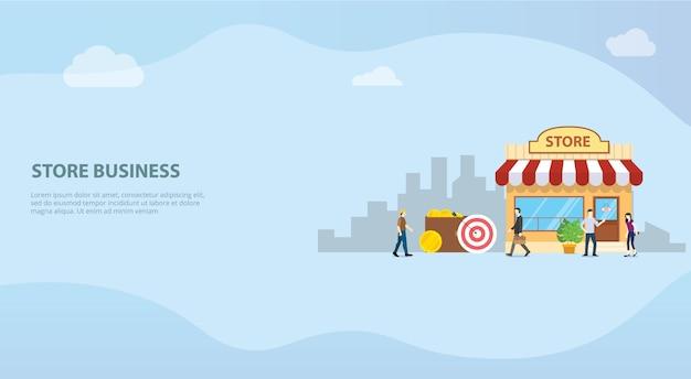 Otwórz sklep internetowy lub koncepcję budynku biznesowego sklepu dla strony internetowej z szablonem do lądowania