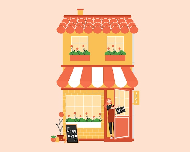 Otwórz sklep z właścicielką małej firmy lub młodym pracownikiem używającym fartucha i trzyma znak, że jesteśmy otwarci